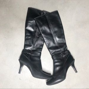 Gianni Bini Black Leather Heel Boots 9.5